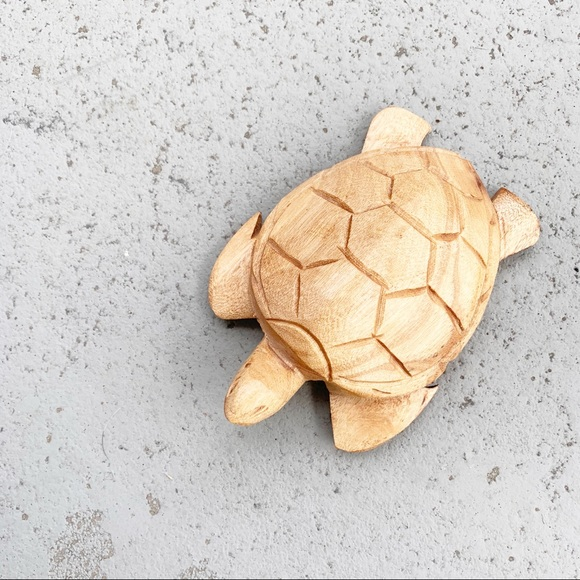 Wooden Hand Carved Turtle Home Decor Small